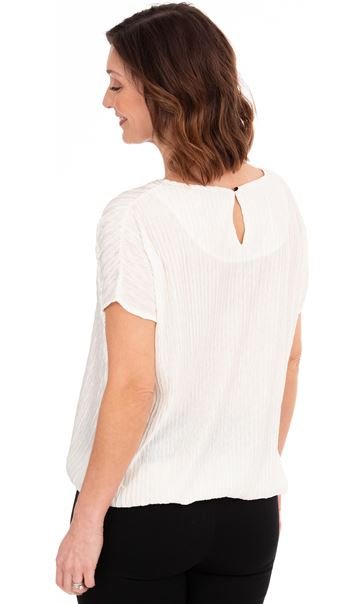Plisse Blouson Short Sleeve Top Ivory - Gallery Image 2