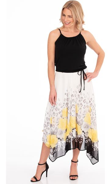 Border Floral Printed Dress Ivory/Yellow/Black