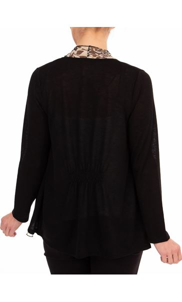 Anna Rose Chiffon Trim Knitted Cover Up - Black