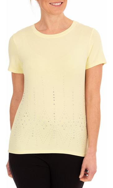 Anna Rose Short Sleeve Embellished Jersey Top Soft Lemon