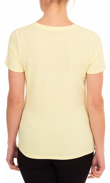 Anna Rose Short Sleeve Embellished Jersey Top Soft Lemon - Gallery Image 2