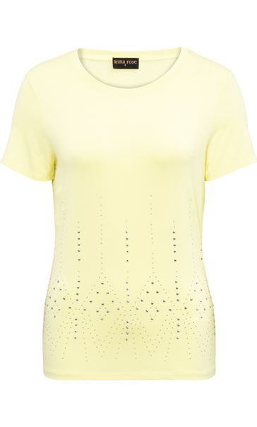 Anna Rose Short Sleeve Embellished Jersey Top Soft Lemon - Gallery Image 3