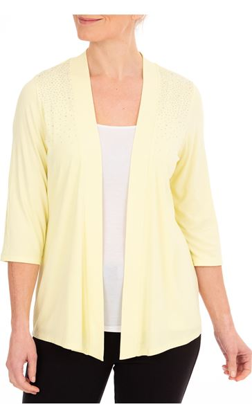 Anna Rose Embellished Jersey Cover Soft Lemon - Gallery Image 1