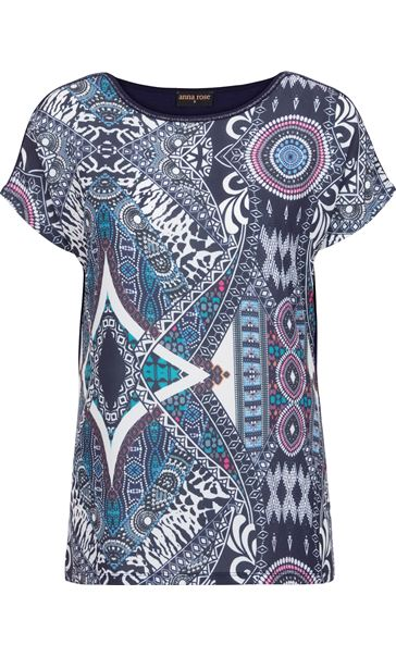 Anna Rose Short Sleeve Print Top Navy/Multi - Gallery Image 3