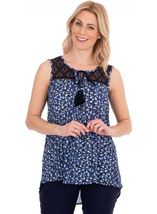 Sleeveless Printed Crochet Trim Top
