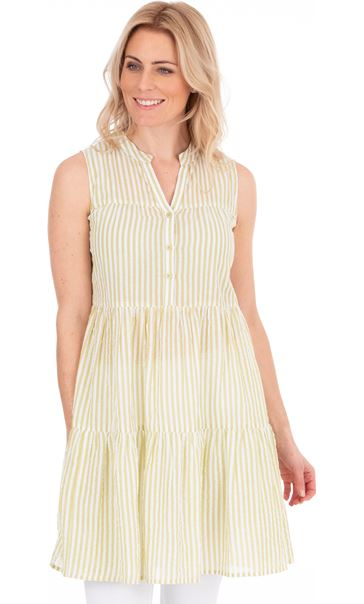 Sleeveless Striped Cotton Tunic Golden Olive - Gallery Image 1