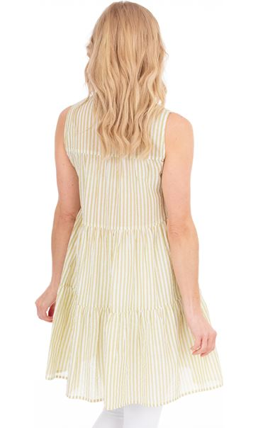 Sleeveless Striped Cotton Tunic Golden Olive - Gallery Image 2