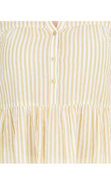 Sleeveless Striped Cotton Tunic Golden Olive - Gallery Image 3