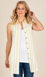 Sleeveless Striped Cotton Tunic