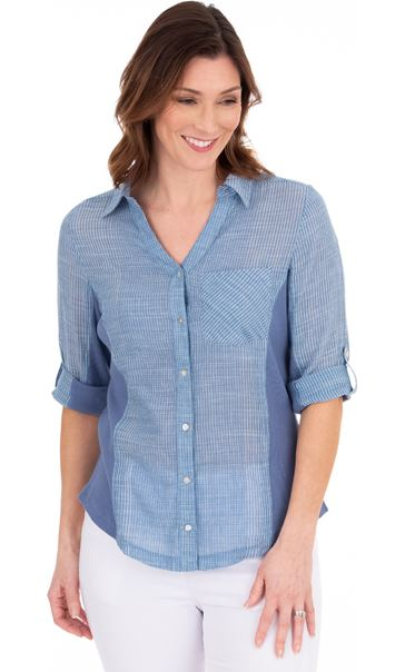 Striped Fitted Cotton Shirt Blue