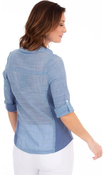 Striped Fitted Cotton Shirt Blue - Gallery Image 2