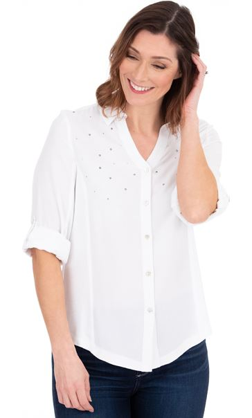 Embellished Fitted Shirt White