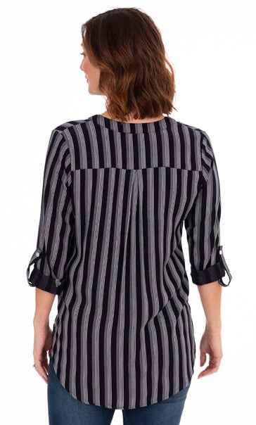 Striped Turn Up Sleeve Top