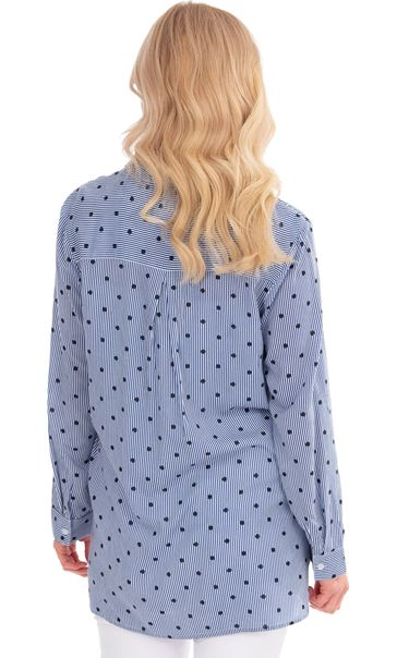 Stripe And Spot Long Sleeve Shirt White/Blue - Gallery Image 2