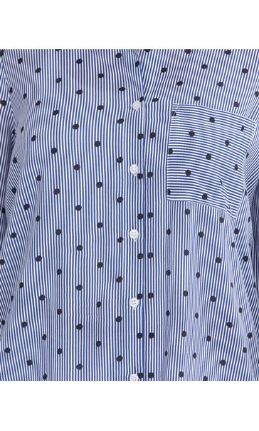 Stripe And Spot Long Sleeve Shirt White/Blue - Gallery Image 3