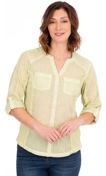 Washed Cotton Blouse Pale Lime