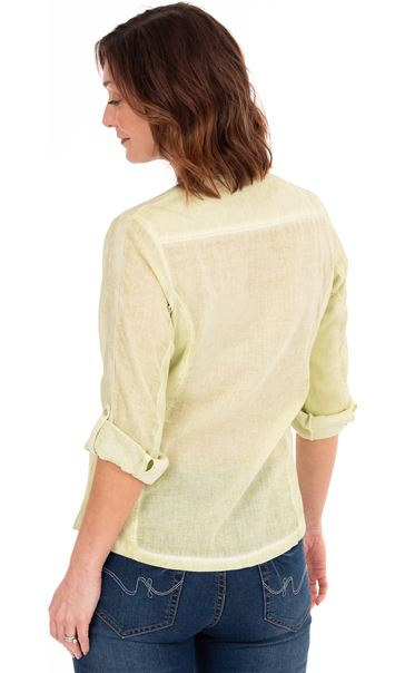 Washed Cotton Blouse Pale Lime - Gallery Image 2