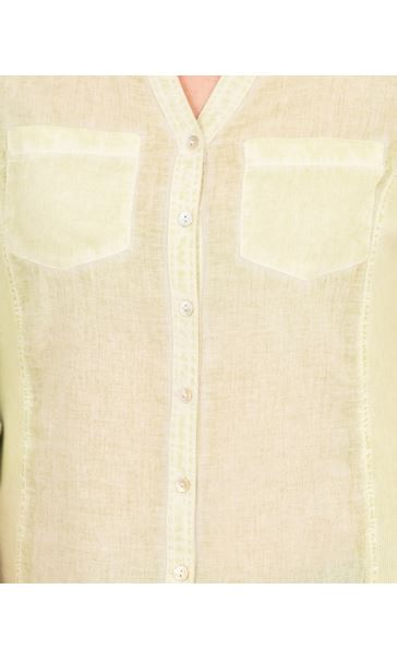 Washed Cotton Blouse Pale Lime - Gallery Image 3