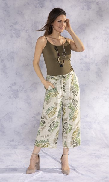 Wide Leg Cropped Printed Trousers Olive