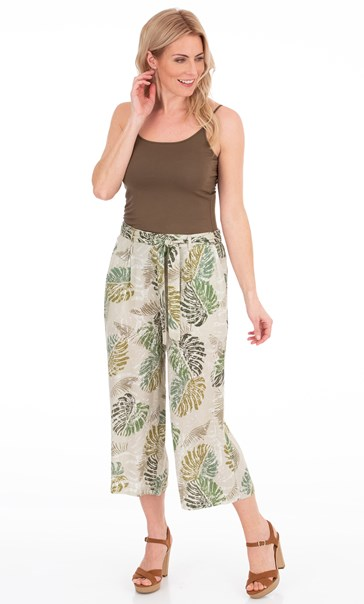 Wide Leg Cropped Printed Trousers Olive - Gallery Image 2