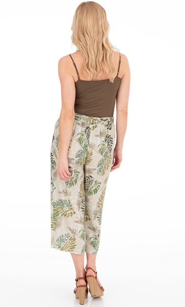 Wide Leg Cropped Printed Trousers Olive - Gallery Image 3