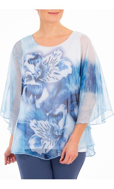 Anna Rose Printed Sheer Embellished Top Ivory/Powder Blue - Gallery Image 1