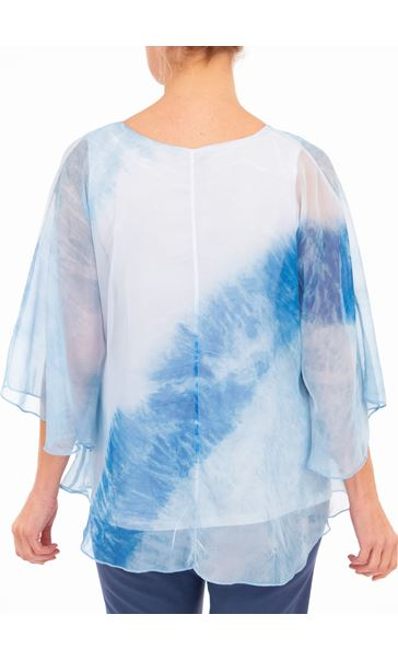 Anna Rose Printed Sheer Embellished Top Ivory/Powder Blue - Gallery Image 2