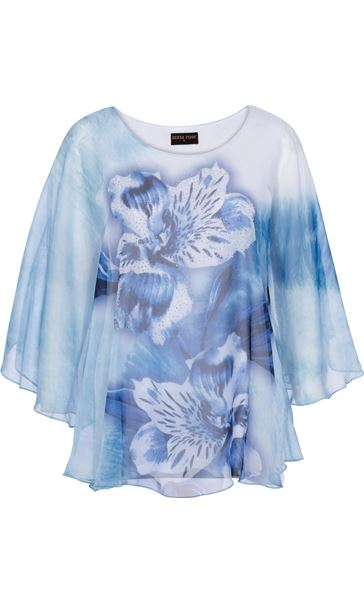 Anna Rose Printed Sheer Embellished Top Ivory/Powder Blue - Gallery Image 3