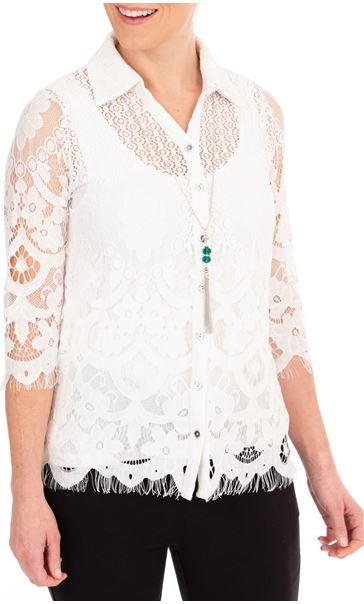 Anna Rose Lace Blouse With Necklace White/Multi