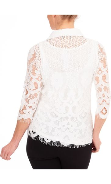 Anna Rose Lace Blouse With Necklace White/Multi - Gallery Image 2