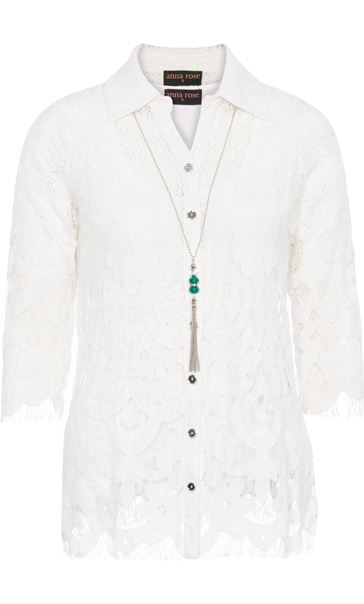 Anna Rose Lace Blouse With Necklace White/Multi - Gallery Image 3