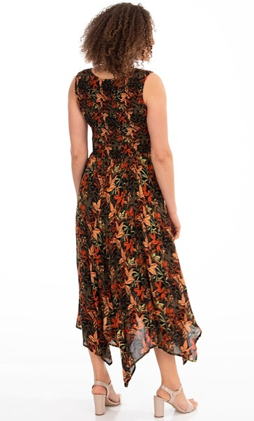Printed Smocked Maxi Dress Black/Salmon - Gallery Image 2