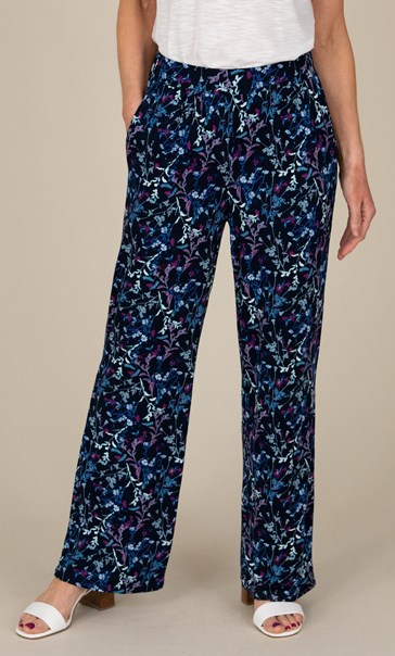 Anna Rose Floral Jersey Wide Leg Trousers Navy/Multi - Gallery Image 2