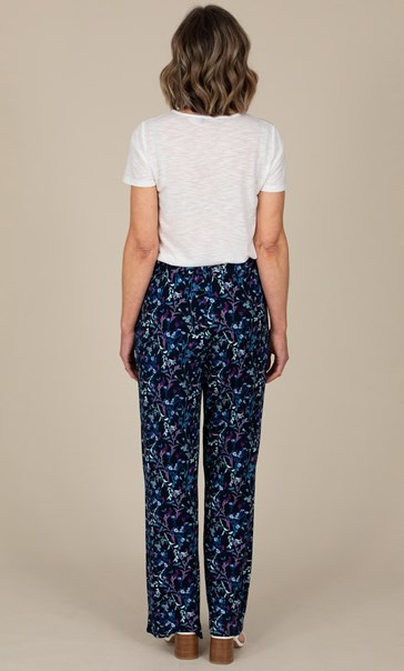 Anna Rose Floral Jersey Wide Leg Trousers Navy/Multi - Gallery Image 3