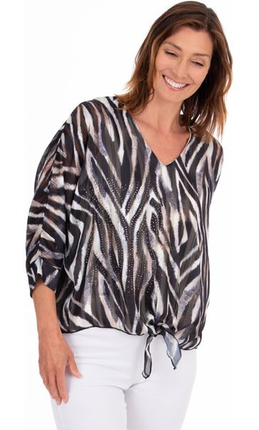 Embellished Animal Print Top