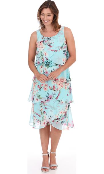 Sleeveless Floral Layered Chiffon Dress Aqua