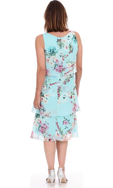 Sleeveless Floral Layered Chiffon Dress Aqua - Gallery Image 2
