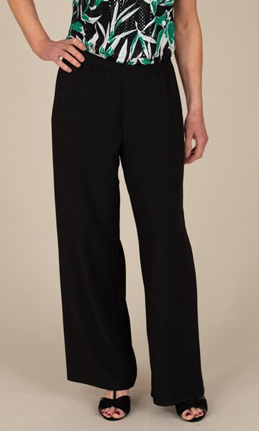 Anna Rose Wide Leg Crepe Trousers - Black