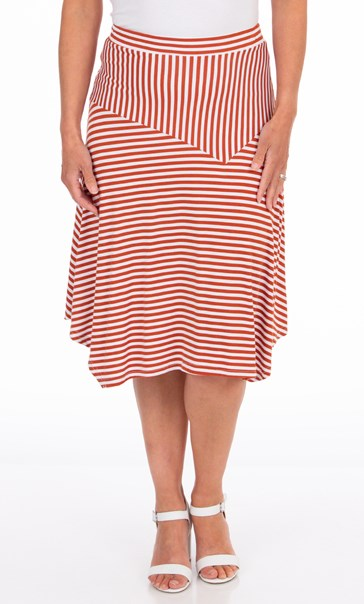 Pull On Striped Jersey Skirt