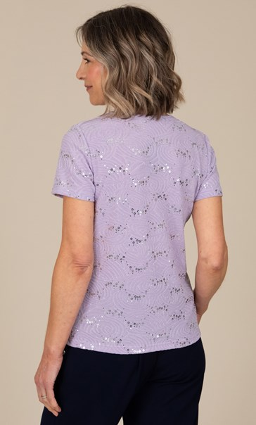 Anna Rose Short Sleeve Textured Top - Pastel Lilac