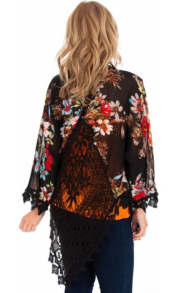 Crochet Trimmed Printed Georgette Cover Up