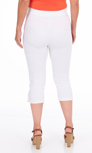 Cropped Pull On Stretch Trousers - White