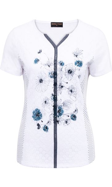 Anna Rose Panelled Print Top White - Gallery Image 3