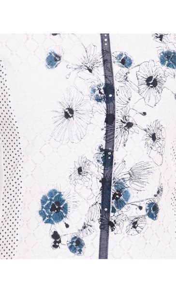 Anna Rose Panelled Print Top White - Gallery Image 4