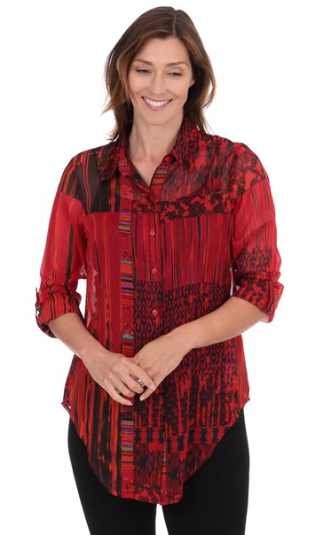 Printed Chiffon Tie Front Blouse - Reds