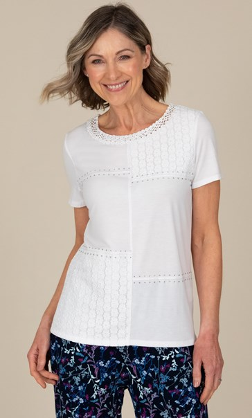 Anna Rose Embellished Short Sleeve Top White