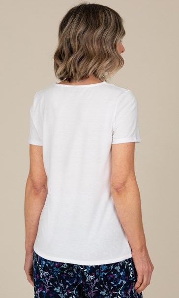 Anna Rose Embellished Short Sleeve Top White - Gallery Image 2