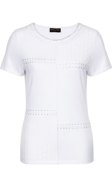 Anna Rose Embellished Short Sleeve Top White - Gallery Image 3