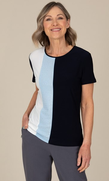 Anna Rose Embellished Colour Block Top Midnight/Powder Blue