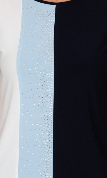 Anna Rose Embellished Colour Block Top Midnight/Powder Blue - Gallery Image 3